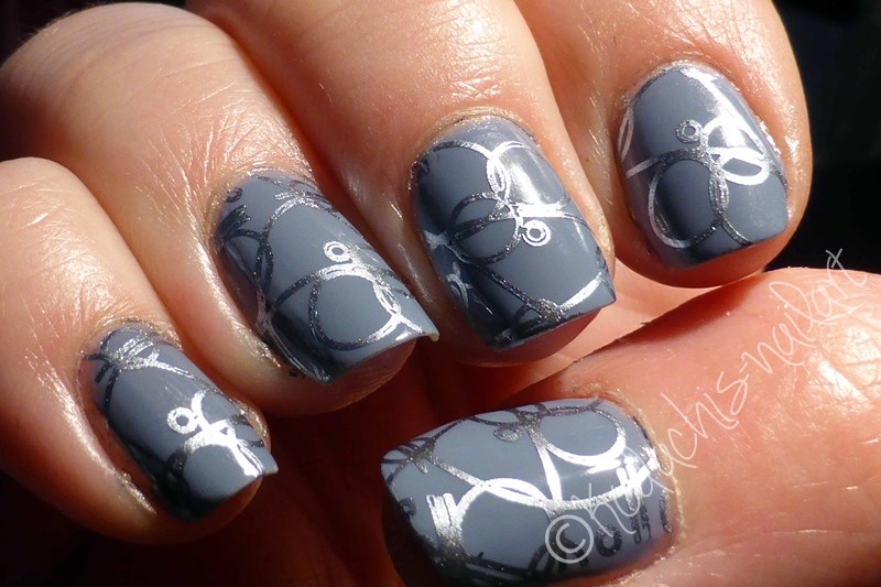 Essie Truth or flare with Blue Rhapsody Stamping