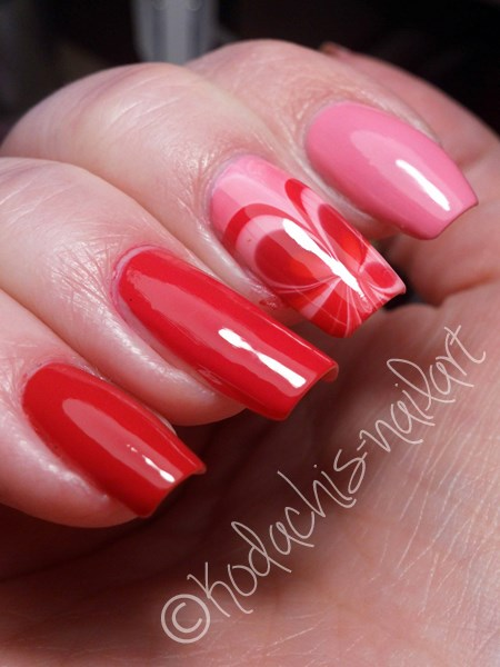 Pinkes Essie Ombre mit Watermarble